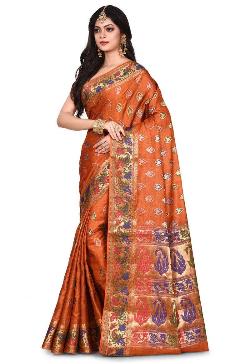 Pure Tussar Silk Banarasi Saree in Rust 4