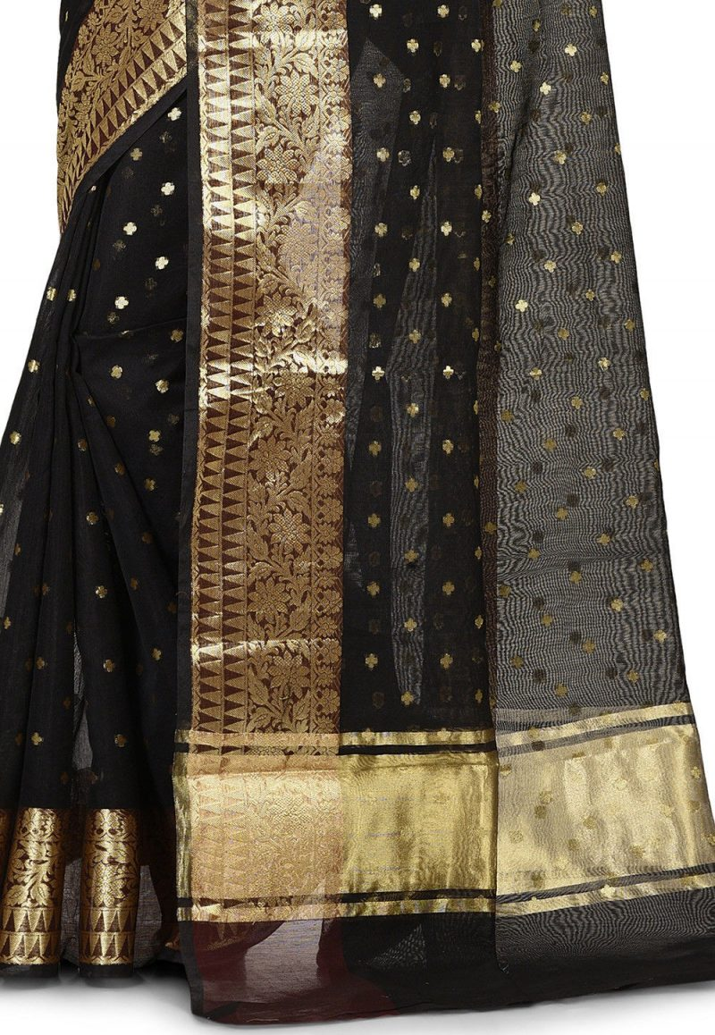 Banarasi Cotton Silk Saree in Black 2
