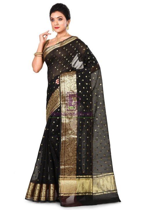 Banarasi Cotton Silk Saree in Black 8