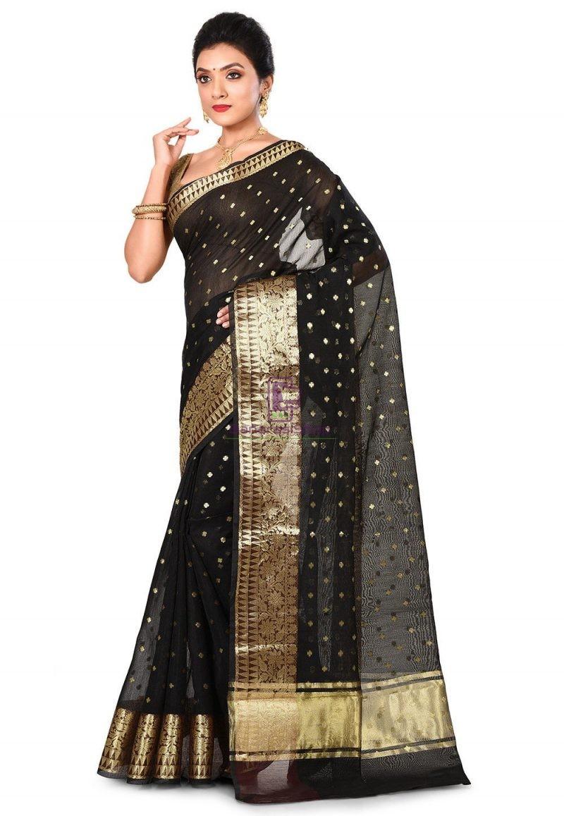 Banarasi Cotton Silk Saree in Black 4