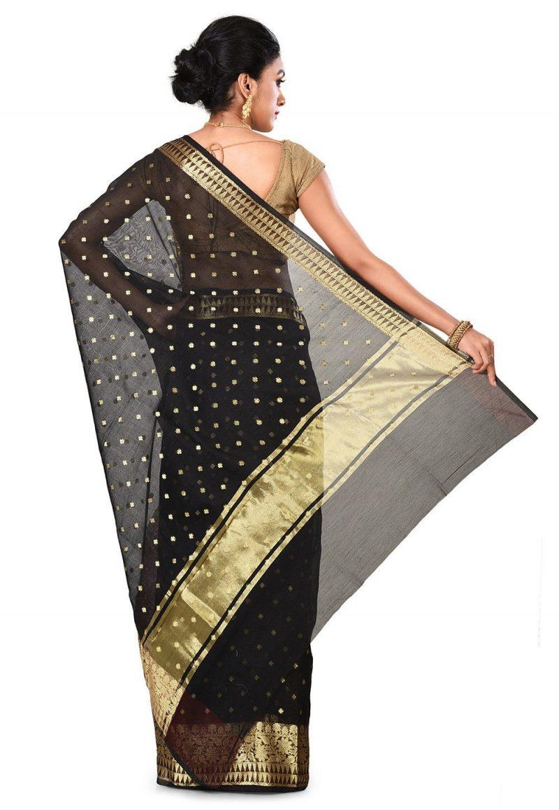 Banarasi Cotton Silk Saree in Black 5