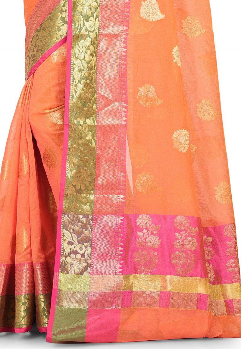 Banarasi Cotton Silk Saree in Dark Peach 2