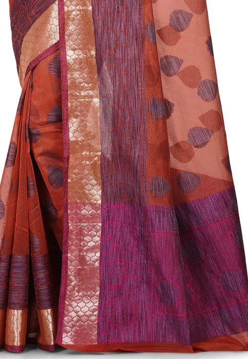 Banarasi Cotton Silk Saree in Dark Peach 4