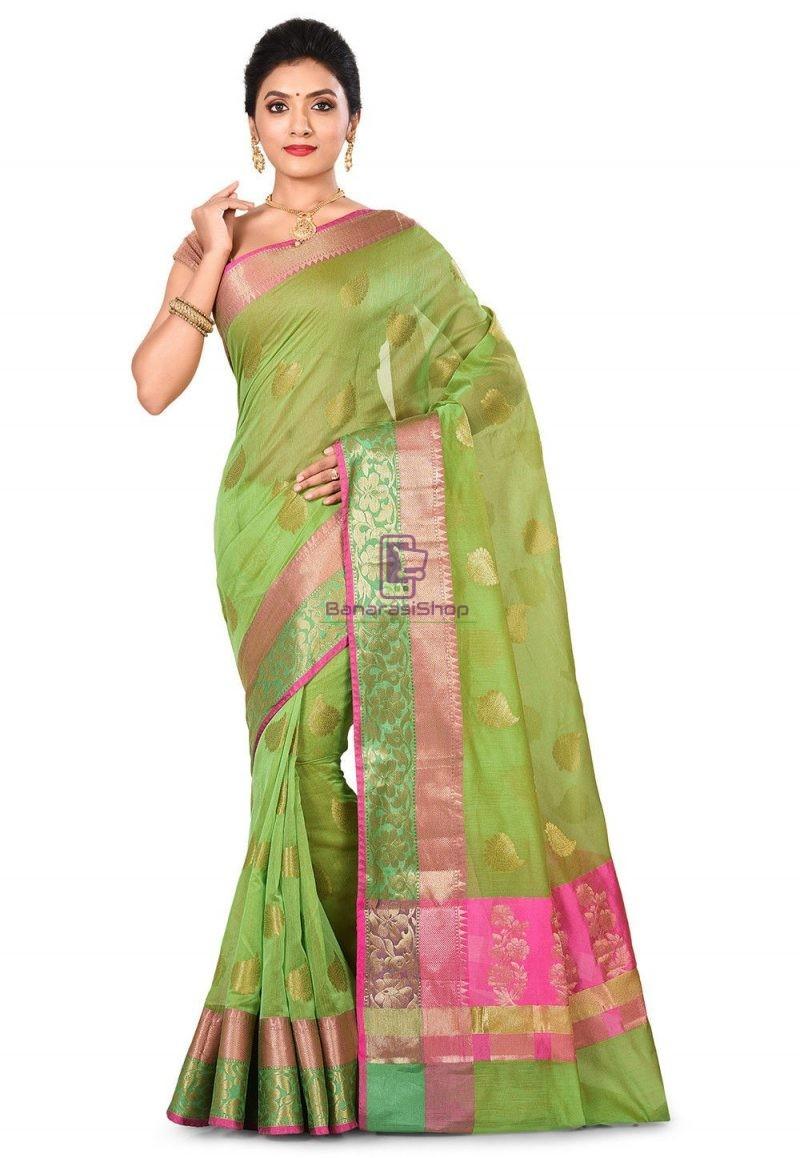Banarasi Cotton Silk Saree in Green 1