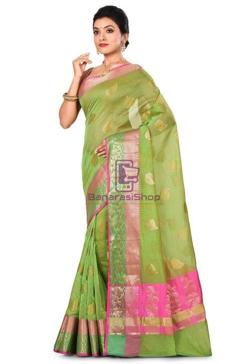 Banarasi Cotton Silk Saree in Green 7