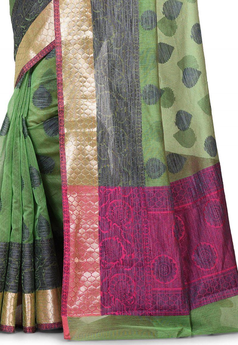 Banarasi Cotton Silk Saree in Green 2
