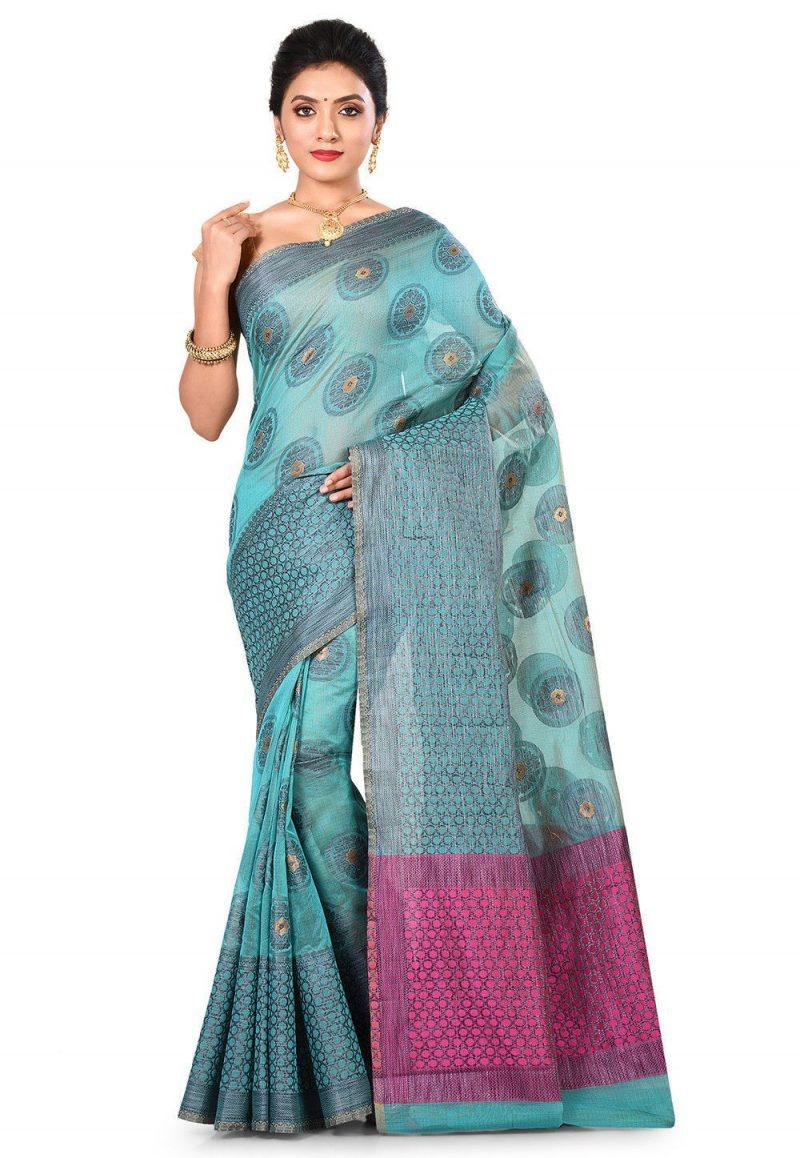 Banarasi Cotton Silk Saree in Light Dusty Blue 1