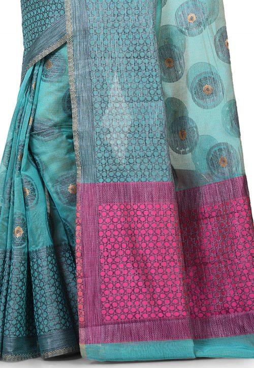 Banarasi Cotton Silk Saree in Light Dusty Blue 5