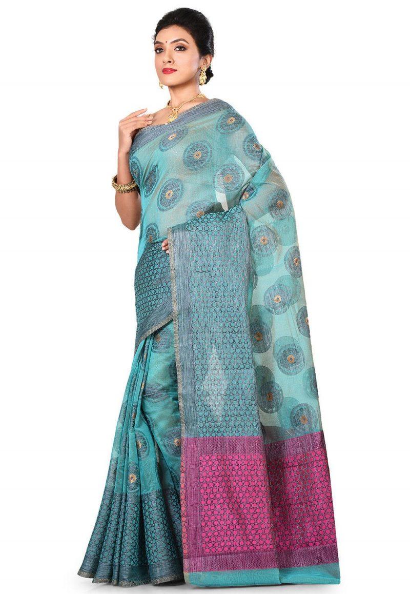 Banarasi Cotton Silk Saree in Light Dusty Blue 4