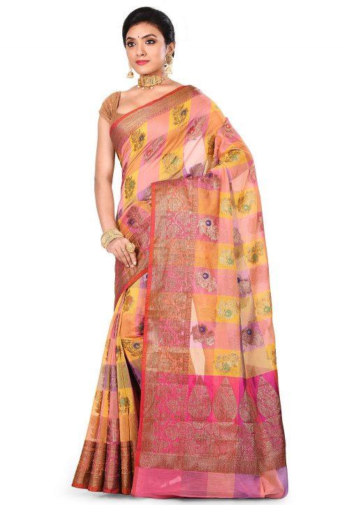 Banarasi Cotton Silk Saree in Multicolor 7