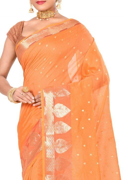 Banarasi Cotton Silk Saree in Mustard 6