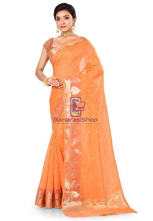 Banarasi Cotton Silk Saree in Mustard 8