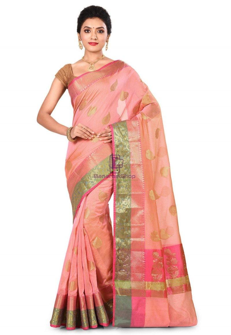 Banarasi Cotton Silk Saree in Peach Pink 1