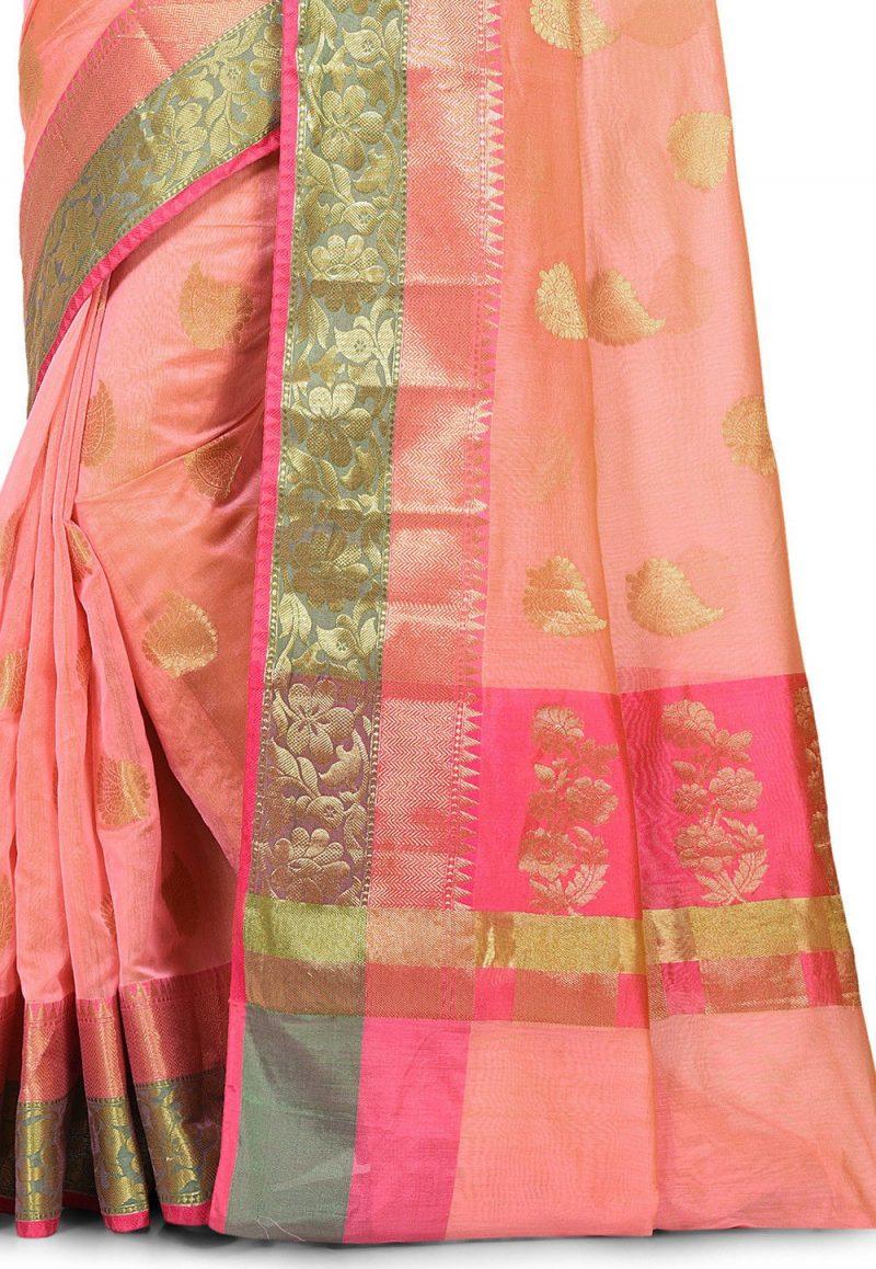 Banarasi Cotton Silk Saree in Peach Pink 2