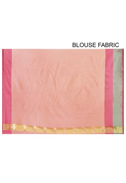 Banarasi Cotton Silk Saree in Peach Pink 6