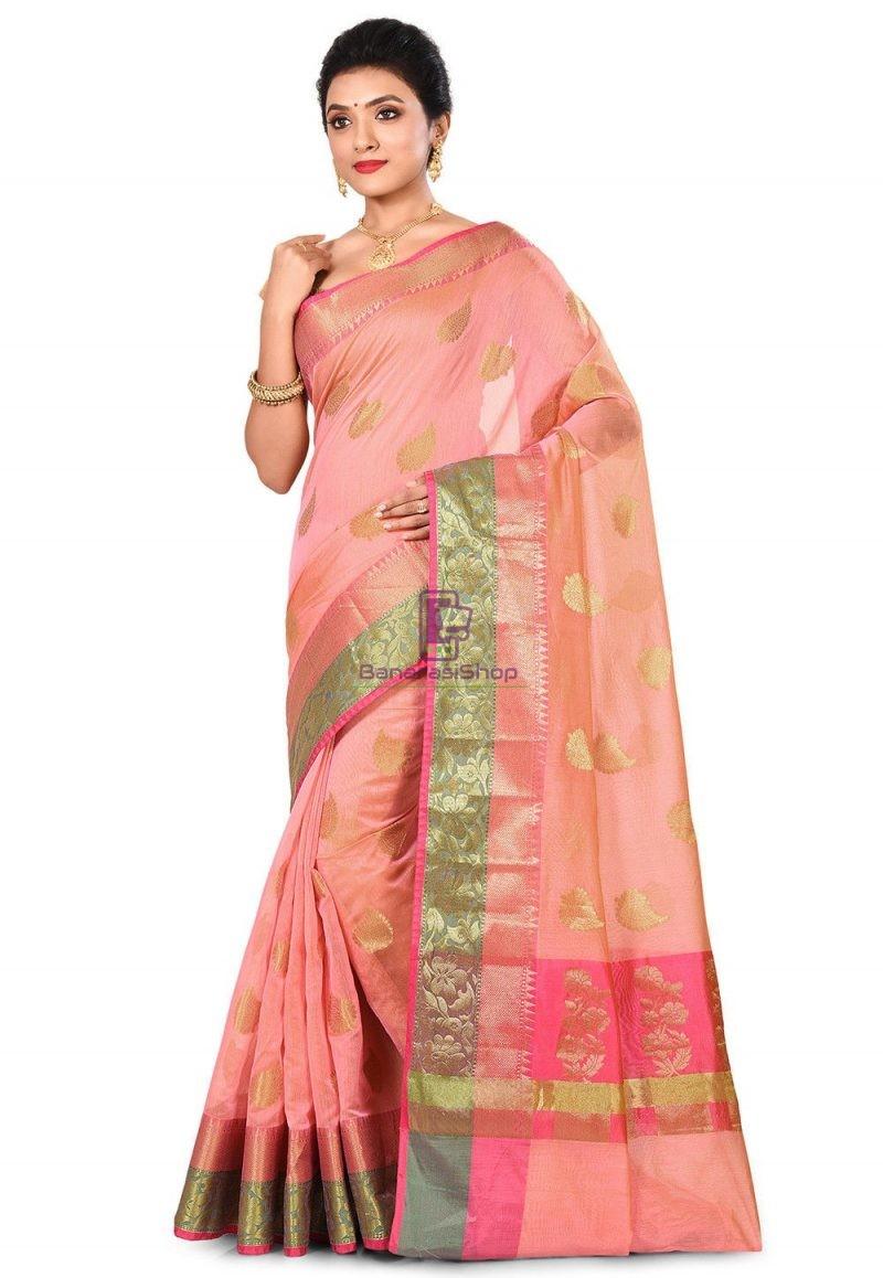 Banarasi Cotton Silk Saree in Peach Pink 4