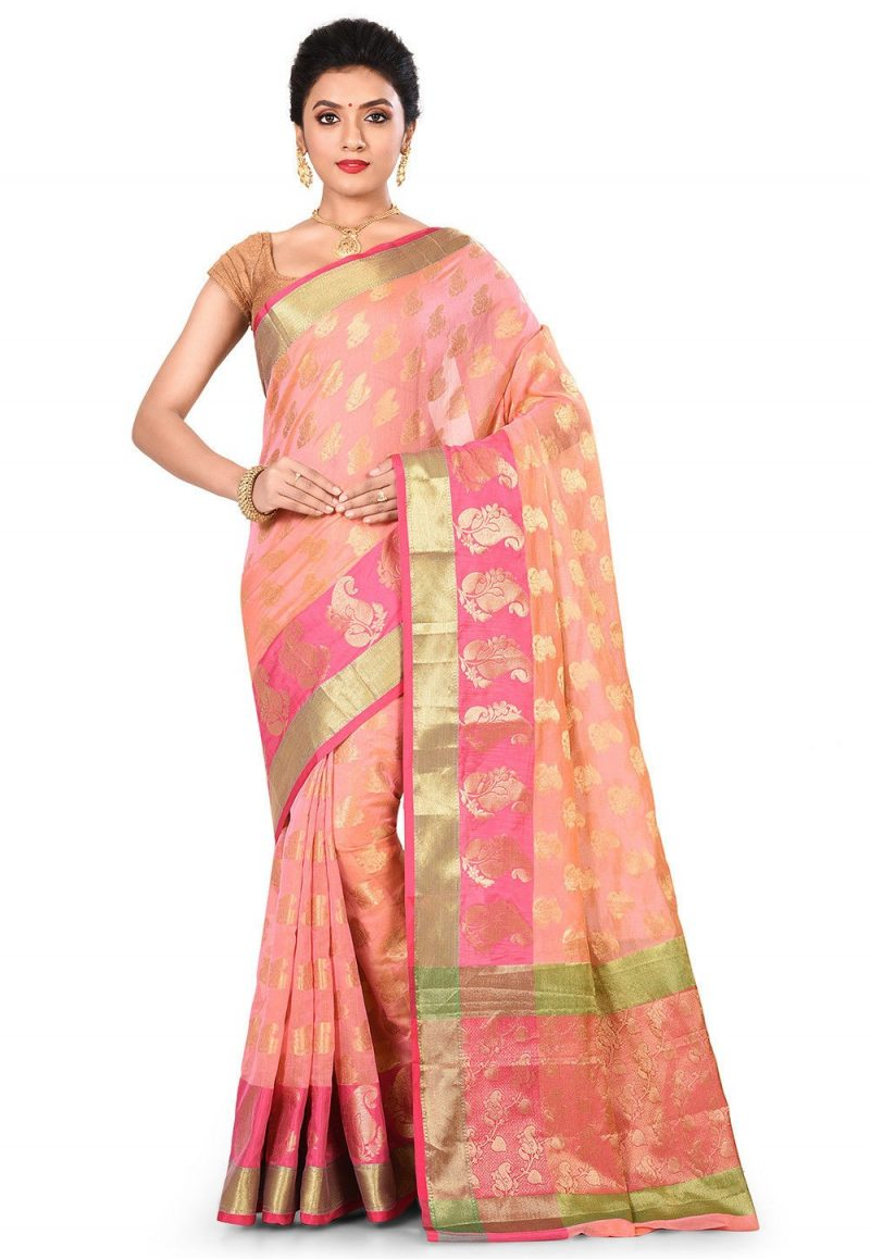 Banarasi Cotton Silk Saree in Pink Peach 1