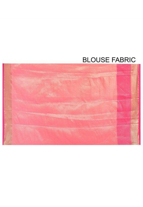 Banarasi Cotton Silk Saree in Pink Peach 6