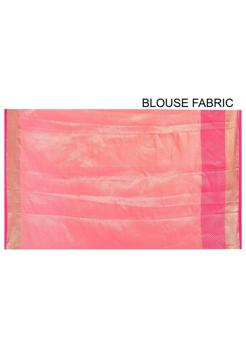 Banarasi Cotton Silk Saree in Pink Peach 3