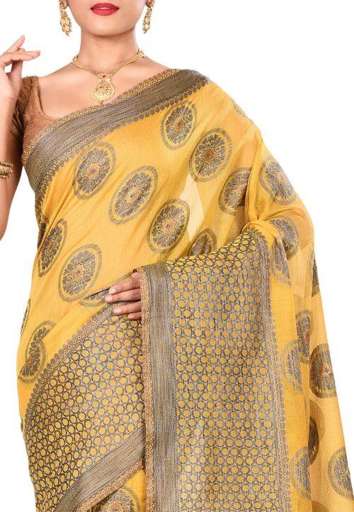 Banarasi Cotton Silk Saree in Yellow 5