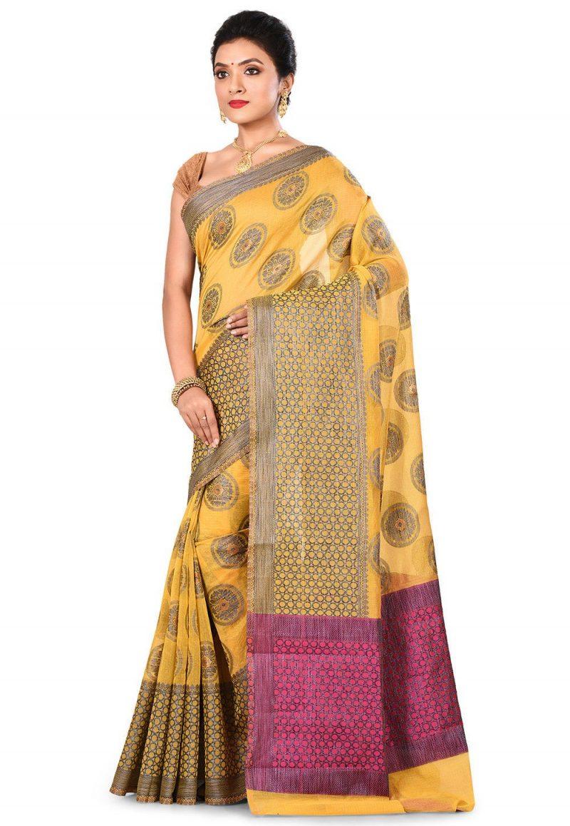 Banarasi Cotton Silk Saree in Yellow 4