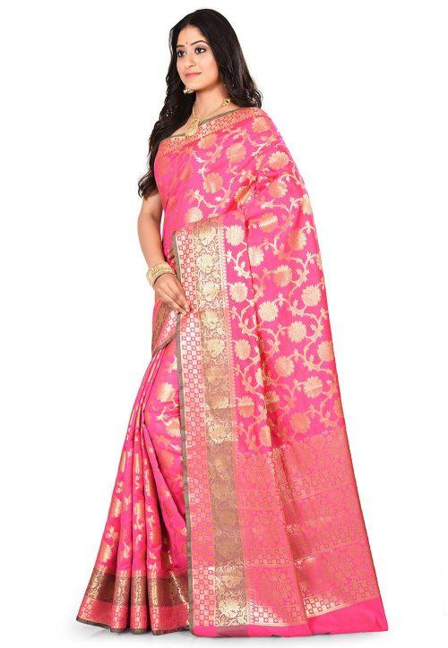 Woven Banarasi Art Silk Saree in Fuchsia 7