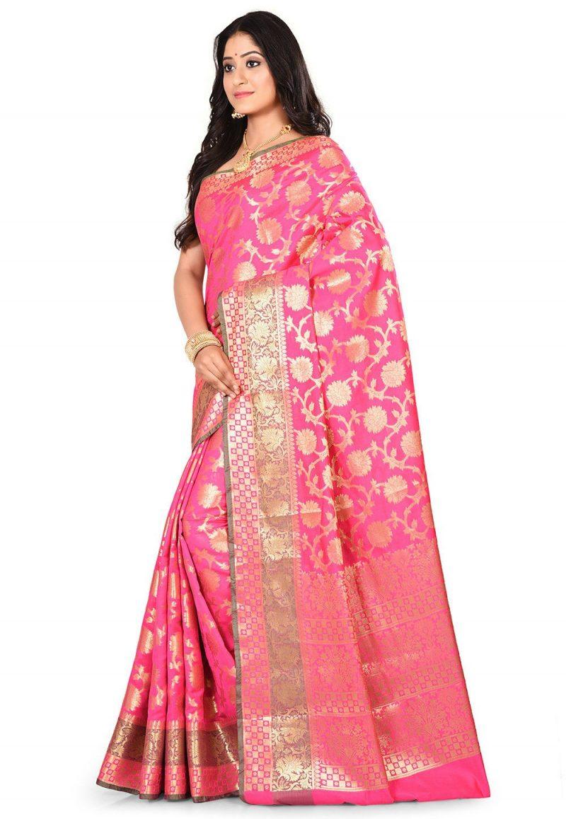 Woven Banarasi Art Silk Saree in Fuchsia 4
