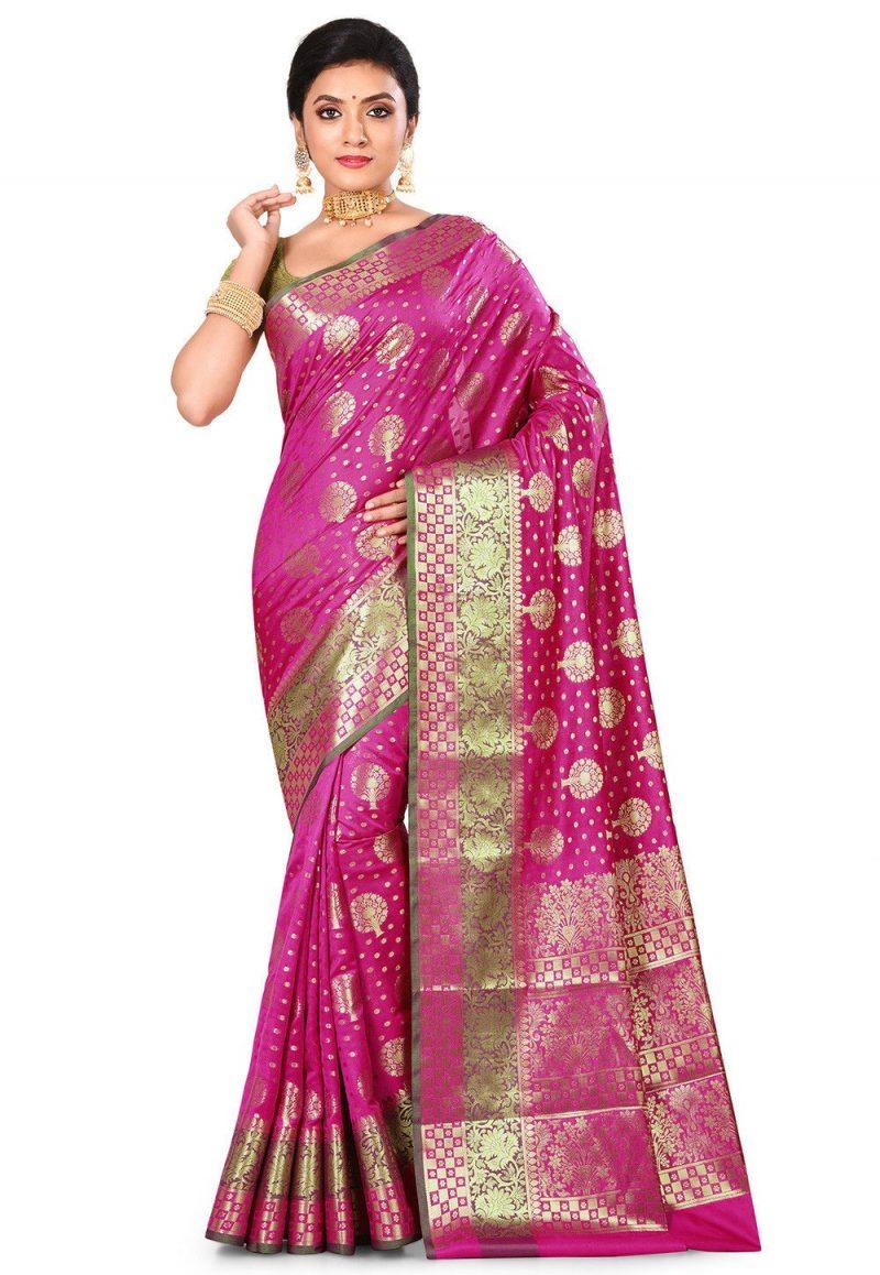 Woven Banarasi Art Silk Saree in Magenta 1