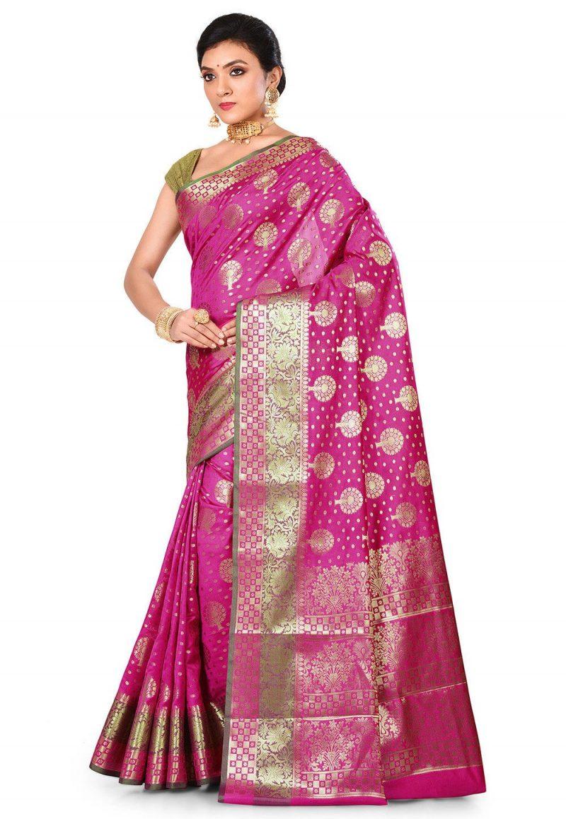 Woven Banarasi Art Silk Saree in Magenta 4
