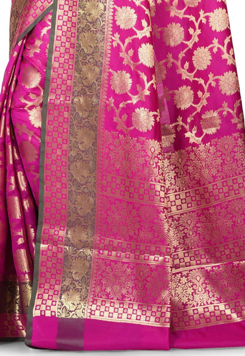Woven Banarasi Art Silk Saree in Magenta 2