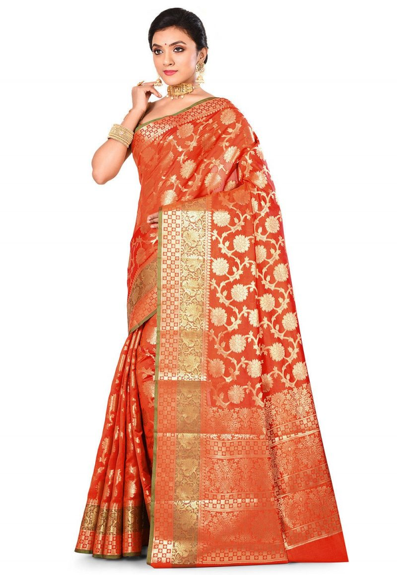 Woven Banarasi Art Silk Saree in Orange 3