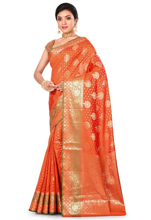 Woven Banarasi Art Silk Saree in Orange 7