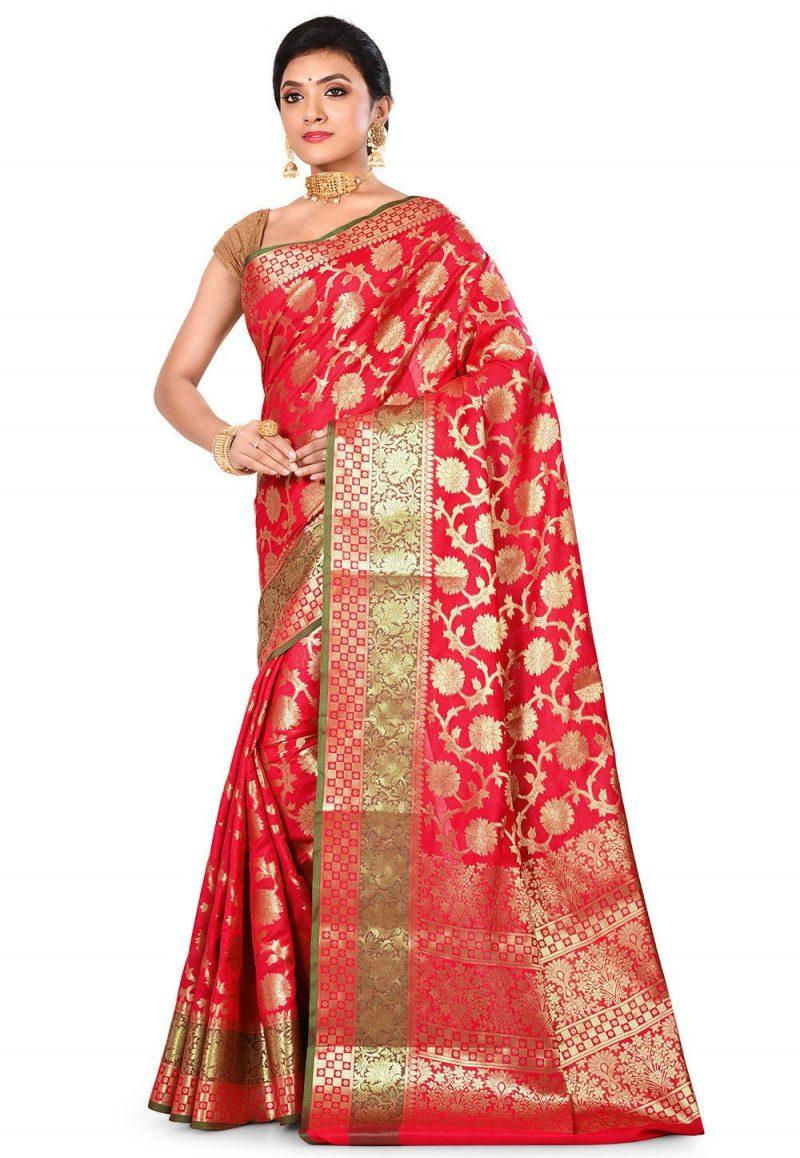 Woven Banarasi Art Silk Saree in Red 4