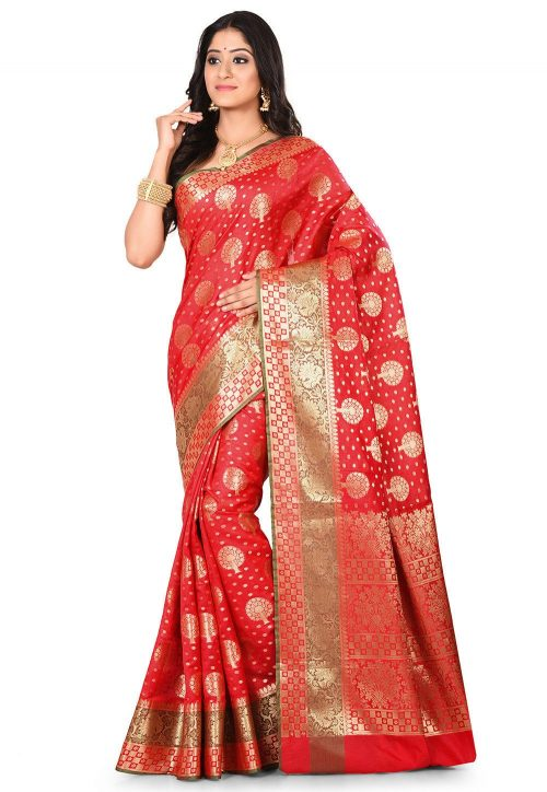 Woven Banarasi Art Silk Saree in Red 7