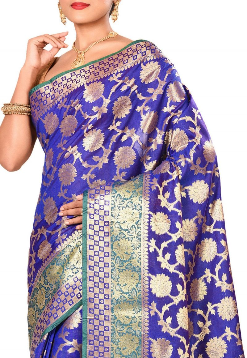 Woven Banarasi Art Silk Saree in Royal Blue 2