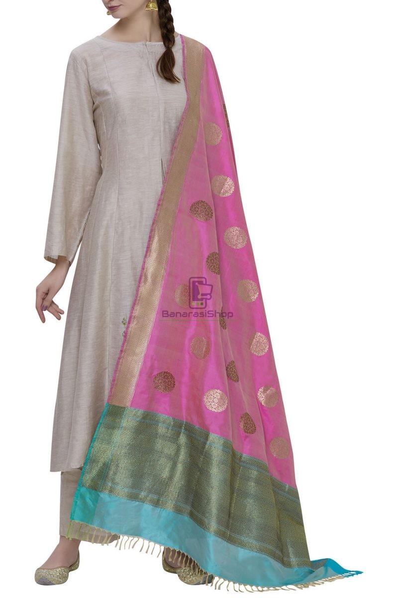 Handloom Banarasi Pure Katan Silk Dupatta in Pink 1