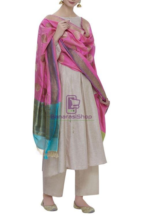 Handloom Banarasi Pure Katan Silk Dupatta in Pink 3