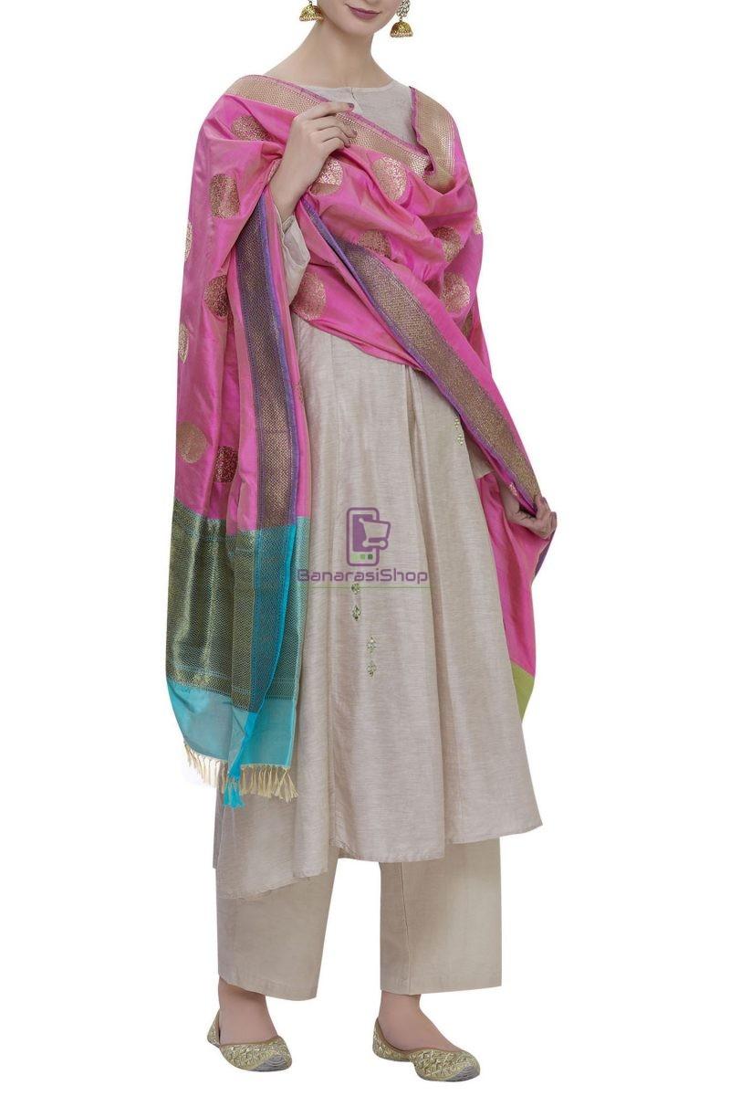 Handloom Banarasi Pure Katan Silk Dupatta in Pink 2