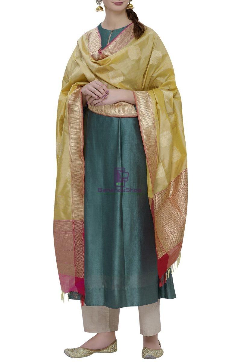 Handloom Banarasi Pure Katan Silk Dupatta in Yellow 1