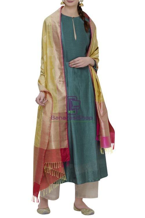 Handloom Banarasi Pure Katan Silk Dupatta in Yellow 3