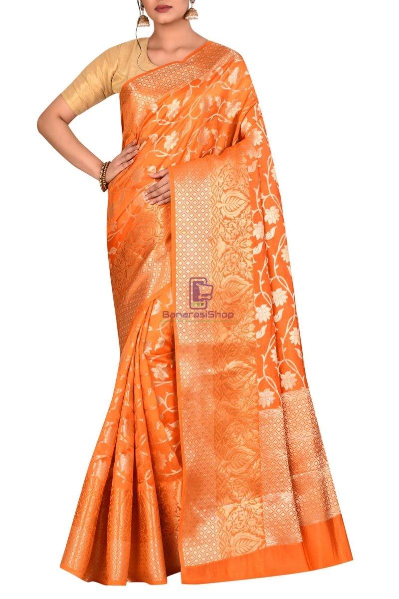 Pure Silk Banarasi Dupion Katan Handloom Saree in Orange 1