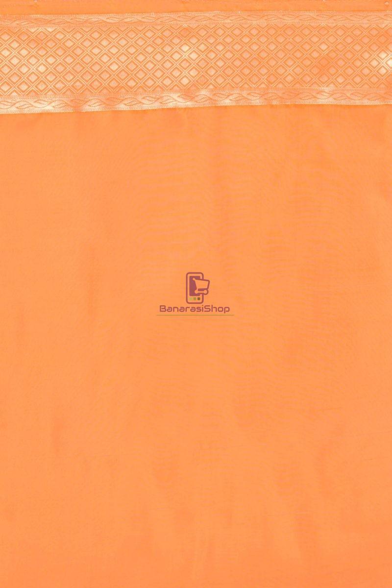 Pure Silk Banarasi Dupion Katan Handloom Saree in Orange 2