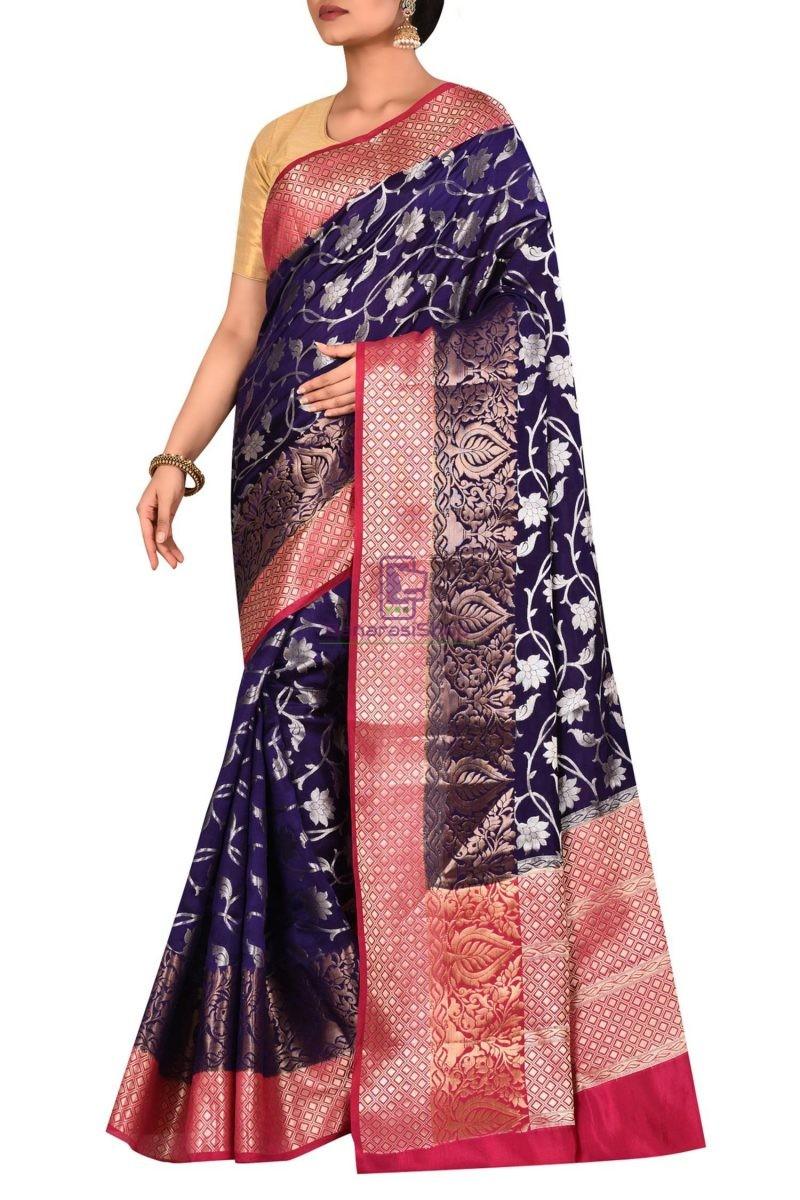 Pure Silk Banarasi Dupion Katan Handloom Saree in Blue 1