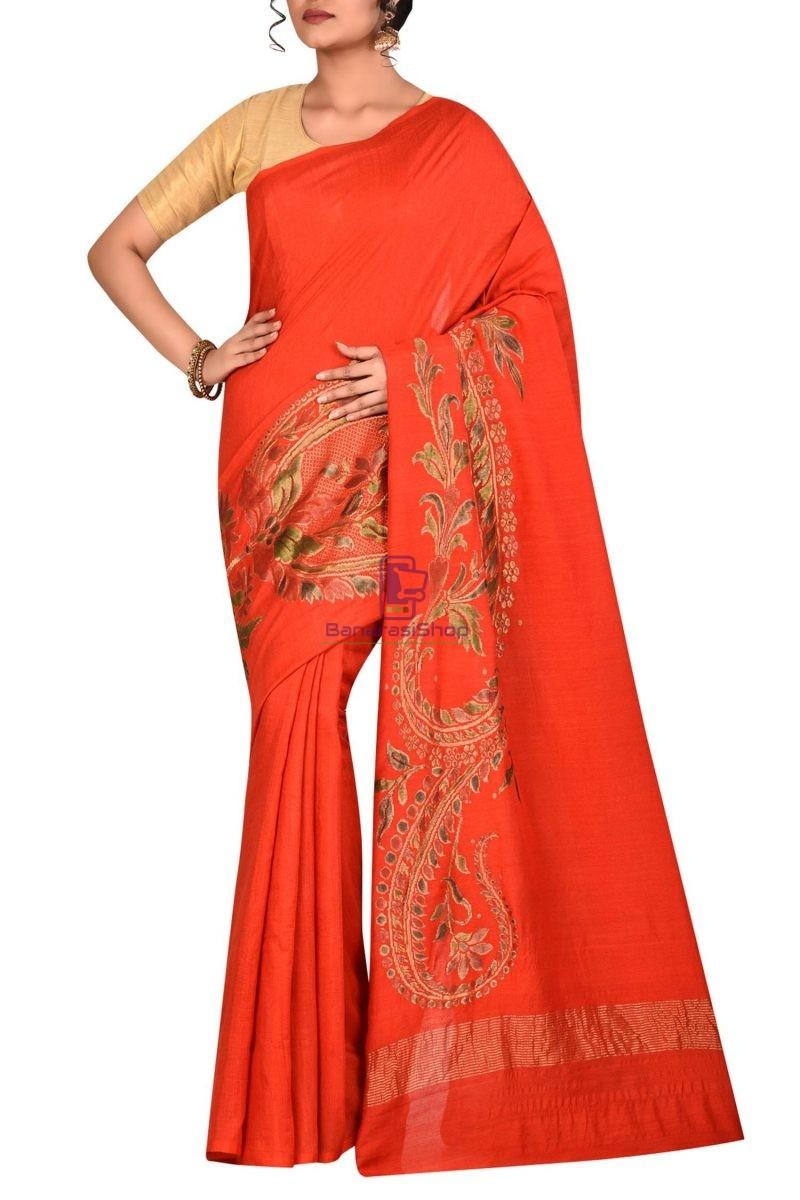 Pure Banarasi Handpainted Muga Silk Handloom Saree in Orange 1