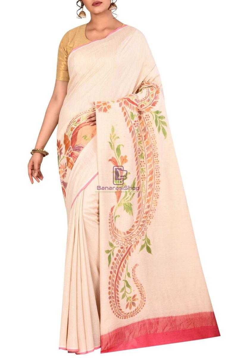 Pure Banarasi Handpainted Muga Silk Handloom Saree in Light Beige 1