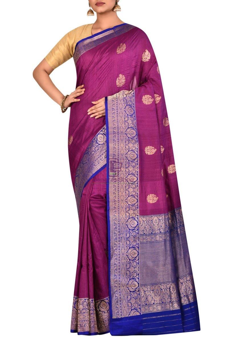Pure Banarasi Tussar Handwoven Purple Silk Saree 1