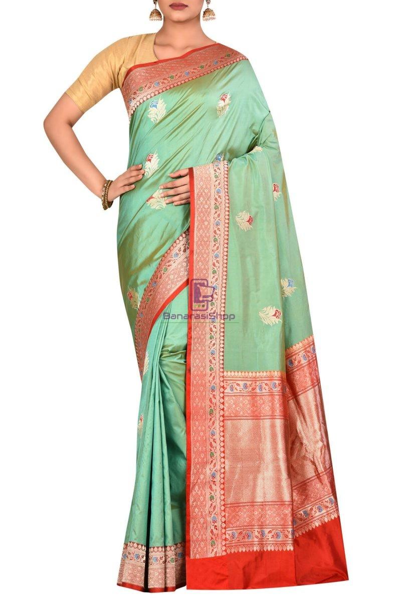 Pure Banarasi Uppada Handloom Silk Saree in Green 1