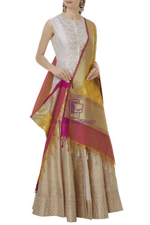 Woven Banarasi Art Silk Dupatta in Yellow 3