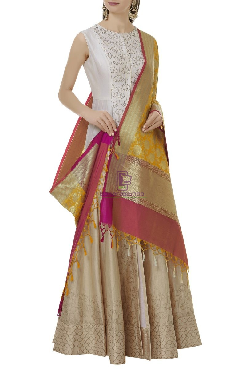 Woven Banarasi Art Silk Dupatta in Yellow 2