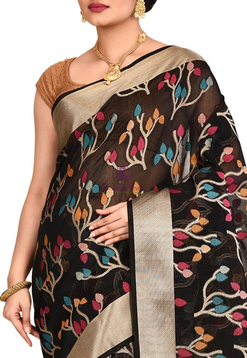 Woven Banarasi Cotton Silk Saree in Black 2